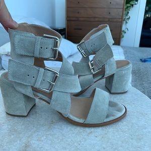 Office London Grey Suede Thick Cross Strap Heel
